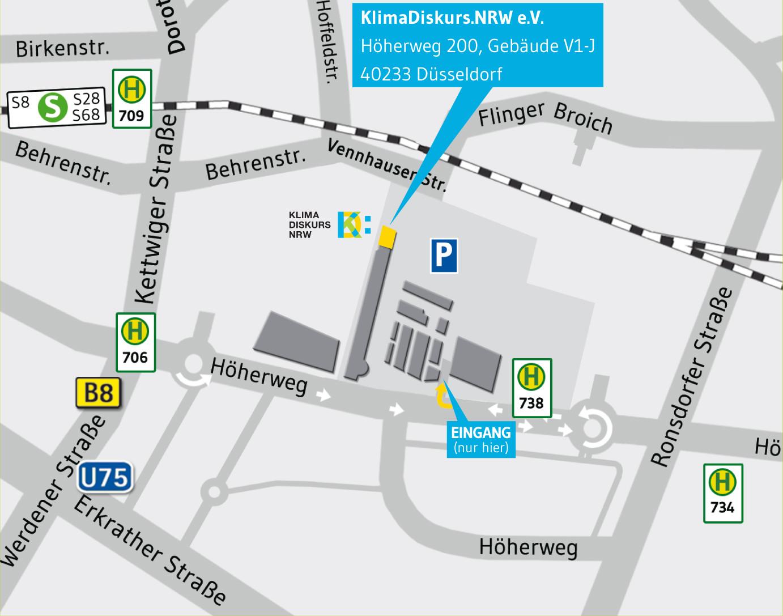 Anfahtsskizze Geschäftsstelle KlimaDiskurs NRW Düsseldorf